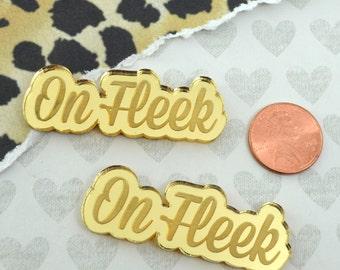 ON FLEEK - 2 Gold Mirror Cabochons- Laser Cut Acrylic Cab