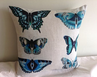 """Beige, blue, teal, grey  butterfly 16"""" cushion cover,  pillow, scatter cushion."""
