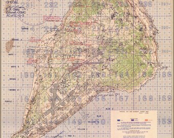 Poster, Many Sizes Available; Battle Of Iwo Jima Marine Corps Map