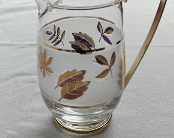 """Pint Pitcher """"Golden Foliage"""" glass by Libbey frosted white and gold leaf, mid century bakeware"""