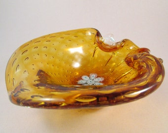 Vintage Murano Art Glass Bowl Amber Glass with Blue and White Flowers and Controlled Bubbles Murano Bullicante