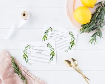 Printable Bridal Shower Recipe Card, Printable Recipe Cards, Bridal Party  - Leah