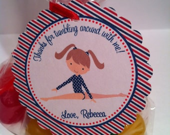 Gymnastics Party Favor Bags ( Set of 12 ) / Gymnastics Birthday Favors / Red White and Blue Gymnastic Favors / Gymnastic Favor Tags