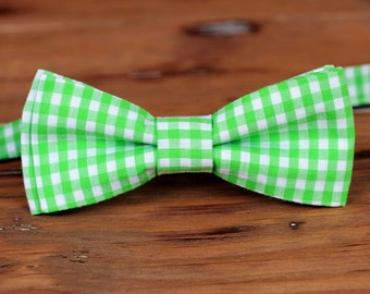 Boys Gingham Bow Tie, 10 Colors Available, spring bowtie for baby infant toddler child preteen boy, orange bow tie, red bow tie, purple tie
