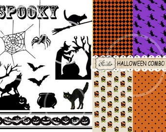 Halloween Clip-art  11 Images 4 Halloween Papers Digital Instant digital download, scrapbook and card supplies, collage, orange, black cat