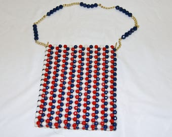 Vintage 1950's 60's Red Whit Blue Beaded Shoulder Bag Purse