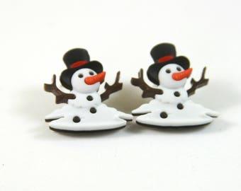 Snowman earrings, Snowman studs, Ghost snowman studs, Ghost studs, Winter earrings, Winter studs, Holiday earrings