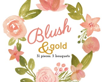Blush and Gold Watercolor Flower Clip Art Commercial Use 31 individual flowers, 3 Watercolour Floral Bouquet Clipart