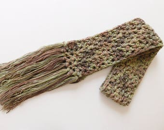 Crocheted Camouflage Scarf, One Of A Kind Womens Scarf, Made in USA
