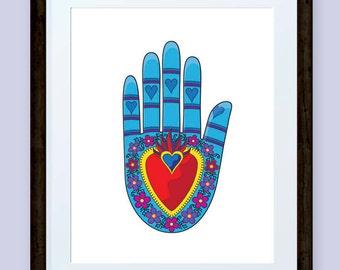 Mexican Flaming Heart folk art inspired hand print, vector, devotional art INSTANT DOWNLOAD