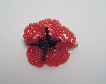 Red poppy flower brooch