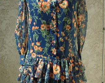 1920's Style Floral Print Chiffon Dress  Designer Sample Size 8  Item # 216  Daytime Dresses