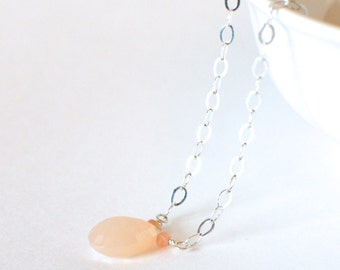 Sterling Silver and Peach Moonstone Necklace with a Sterling Silver Infinity Clasp