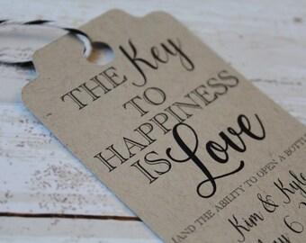 Wedding Favor Tags, Key to Happiness, MEDIUM, Favor Tag, Wedding Favor Tag, Wedding Tags, Bridal Shower Tags