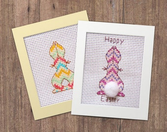 Cute Bunny Card Cross Stitch Pattern - Instant Download PDF - Modern Easter or Birthday Rabbit Greetings Card