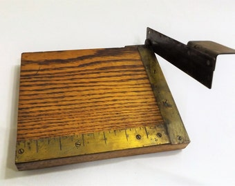 """Antique Paper or Photograph 8"""" Triming Board, Beautiful Oak and Brass"""