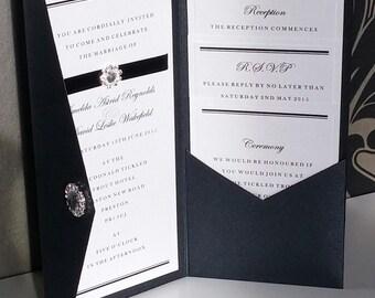 Formal   Black Tie   Diamante   Pocketfold   Wedding Invitation