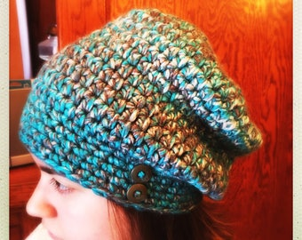 Crocheted Turquoise Wool Slouchy Hat w/Buttons