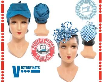 E-Pattern- 1940s WWII Victory Hat Pattern- Wearing History PDF Vintage Sewing Pattern