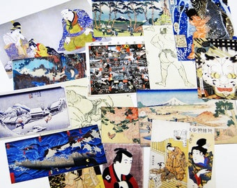 over 20 pieces Ukiyoe ephemera - Scrap pack,Collage Materials,Art Journaling,creative kit cards, life project,Glue book