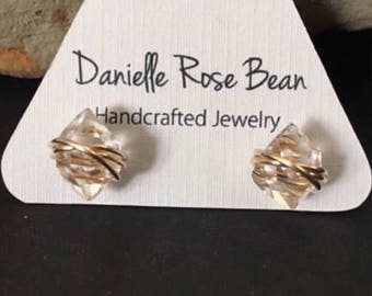 Herkimer Diamond Earrings Gold Stud Earrings Crystal Earrings Raw Gemstone Earrings Daniellerosebean Gold Earrings Gold Post Earrings