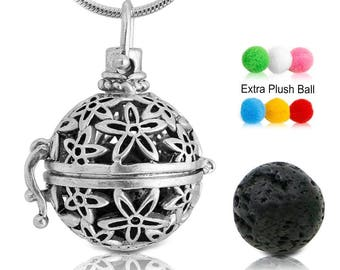 Diffuser Necklace | Essential Oil Aromatherapy Silver Flower Diffuser Locket with Lava Stone