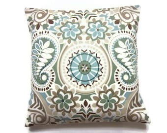 Decorative Pillow Cover Sage Green Blue Taupe Brown Throw Toss Accent Paisley Damask Same Fabric Front/Back  18x18 inch  x