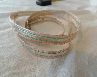 Antique Fancy Silver Metal Lame Tape Ribbon Trim c1910