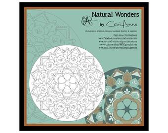 Printable Floral Mandala Coloring Page #1 -adult coloring pages, floral coloring images, color your own art, mandala print, instant download