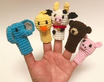 Finger puppets, finger puppet crochet, animal finger puppets, finger family puppet, finger family, toddler birthday gift