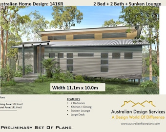 2 Bedrooms + 2 bathroom | Home design Wombat 141KR | Concept House Plans For Sale