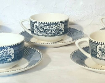 Currier and Ives Cup and Saucer Set of 5, Colonial Style Blue and White Old Grist Mill Cup and Saucer Set, Cup and Saucer Set