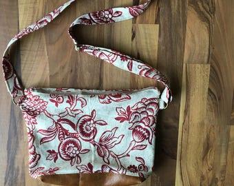 Handmade faux leather cross body purse