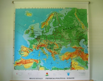 Classic Pull Down World Map - Rand McNally Physical Political Europe Map - Large Wall Art - Schoolhouse Vintage - Classroom Map - Pull Down