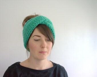 Teal Double Knit Turban Ear Warmer, Chunky Knit Headband, Hand Knit Winter Headband