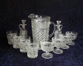VTG Wexford Anchor Hocking Glass Pitcher 4 sm Tumblers, 4 goblets 2 oil vinegar