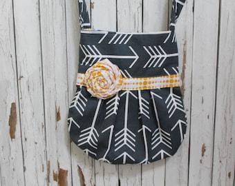 Charcoal Gray and Yellow Crossbody Bag, Gray/Yellow Pleated Crossbody Bag, Arrow Fabric, Mothers Day, Teacher Gift, Summer Bag