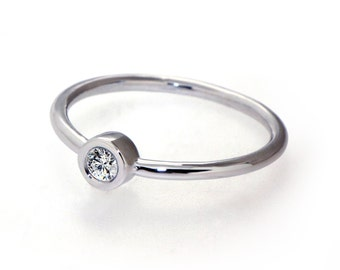 DeLight  Unique Engagement Ring, Solitaire Diamond  Ring, White Gold Ring Custom Italian Fine jewelry