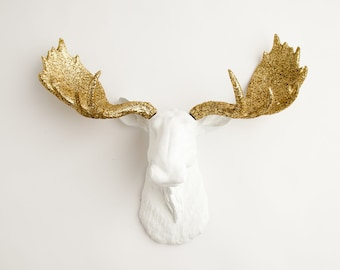 Faux Moose Head  - The Alfredo White w/ Gold Glitter Antlers Resin Animal Head Wall Mount By White Faux Taxidermy - Glitter Moose Wall Decor
