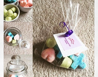 Fragranced soy wax melts in a glass jar, hand poured wax melts, various scented wax melts