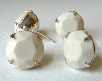 Swarovski White Alabaster Post Earrings - Prong Set 12mm Rounded Studs