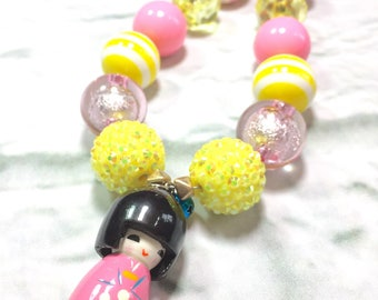 Matryoshka Doll Necklace. Kids jewelry. Pink and Yellow. Little girl. Gift for girls. Bubblegum bead necklace. Birthday party. One of a kind