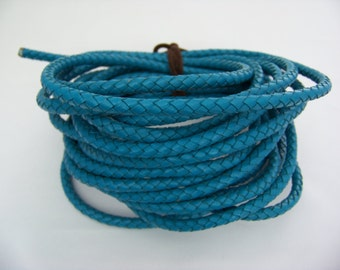 Turquoise 6mm Braided Leather   4502