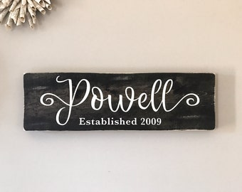 Last name sign, personalized family established sign, family name sign, family wood sign, family wall art, wedding sign