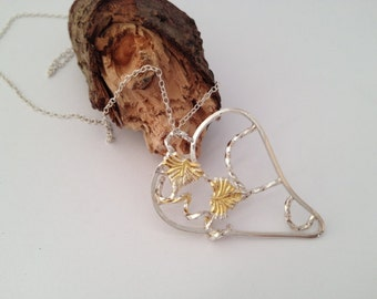 Sterling silver heart pendant with 24ct gold leaf. SALE