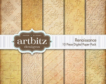 "Renaissance Damask 10 Piece Emboss Texture Digital Scrapbooking Paper Pack, 12""x12"", 300 dpi .jpg, Instant Download!"