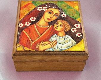 Mother and child, mother box, maternity, motherhood art, inspirational painting, christian box, art box, jewelry box, 3.5x3.5+
