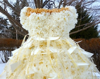 PuffScape - Showcase Piece* PLACE CARD DRESS w/ 100 Embossed Place Cards, Personalized Ribbon Ivory & Gold Tissue Paper Pom Pom Flower Puff