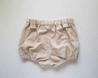 SALE Infant Tab Bloomers in Neutral Cotton by Papoose Clothing