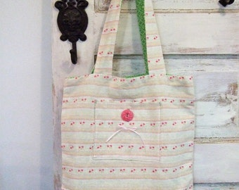 Pink Striped Linen Market Bag | Spring Tote | Washed Linen Bag | The Wild Raspberry